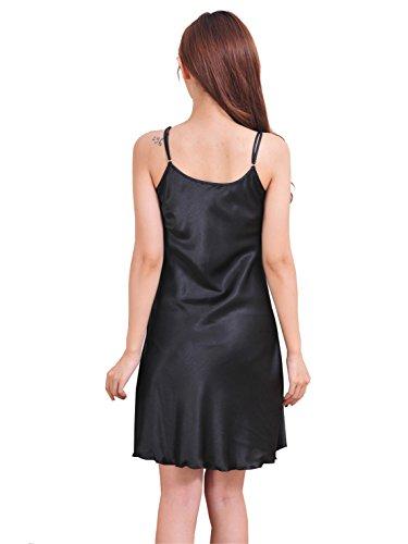 Feoya Chemises de nuit Femme Satin Sexy Fines Bretelles Pyjamas robe - Noir