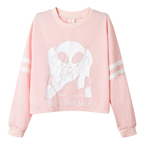 Roshop Women's Cropped Long Sleeve 2 Stripes Print Outwear Sweatshirts (M, Misty Rose With Skull)