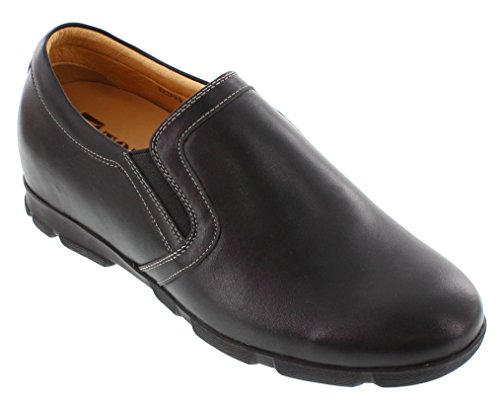 Toto A22725-2.6 inches Taller - height Increasing Elevator Shoes (Black Leather Slip-On) UdcUnRcVEO