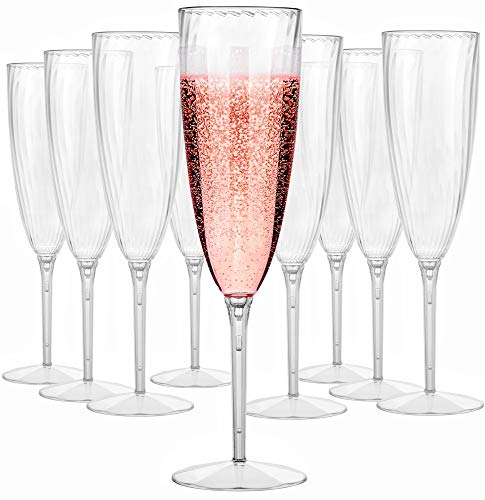 Plastic Champagne Flutes - 6 oz Plastic Wine Glasses for Wedding - Disposable Champagne Flutes - Clear Plastic Champagne Glasses - Plastic Stemware - Cute Mimosa Glasses - BPA Free Cups - Set of 16