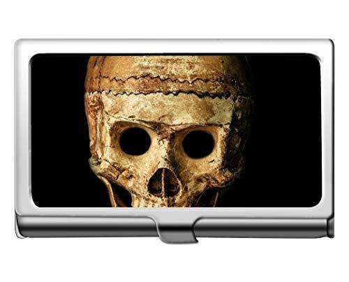 Business Card Holder,Skull Halloween People mask Dummy Protection Credit Business Card Holder Case Storage Box -