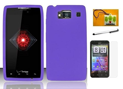 HD XT926 (Verizon), LF 4 in 1 Bundle Accessory - Silicon Skin Case Cover, Stylus Pen, Screen Protector & Wiper (Skin Purple) (Motorola Razr Snap Cases)