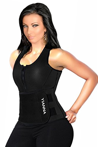 YIANNA Sweat Neoprene Sauna Suit - Waist Training Vest - Sauna Tank Top Vest With Adjustable Waist Trimmer/Shaper Trainer Belt For Weight Loss Plus Size Up To 5XL, YA8012-Black-2XL