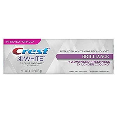 Crest 3D White Brilliance, Fluoride Anticavity Teeth Whitening Toothpaste, Mesmerizing Mint, 4.1 Ounce Tube