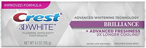 Crest 3D White Brilliance Advanced Whitening Technology + Advanced Freshness Toothpaste, Mesmerizing Mint, 4.1 oz