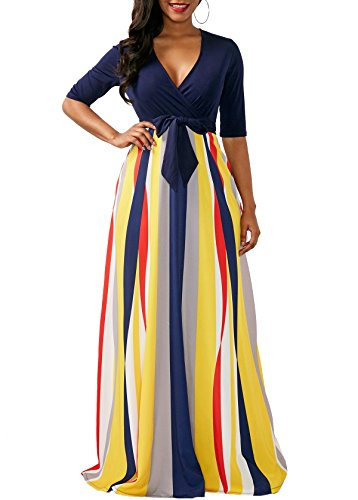 Half Sleeve Floor - VERWIN Half Sleeve Stripes V Neck Women's Maxi Dress for Party Cocktail Club Casual Floor-Length Dress Navy Blue S