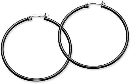 Stainless Steel Black-plated 48mm Hoop Earrings