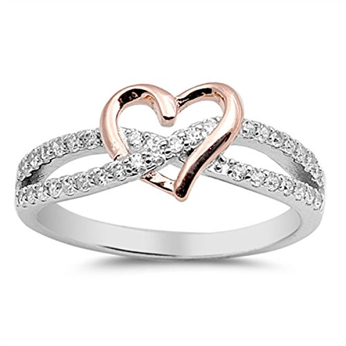 terling Silver Heart Promise Ring Two Tone round Simulated Cubic Zirconia crisscross engagement Ring, Size - 7 ()