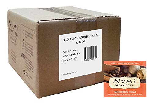 Numi Organic Tea Rooibos Chai, 100 Count Box of Tea Bags, Herbal Teasan, Caffeine-Free (Packaging May Vary)