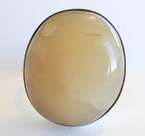 - Sterling Silver Wheat Agate Oval Gemstone Ring 925 Size 8 1/2 S3