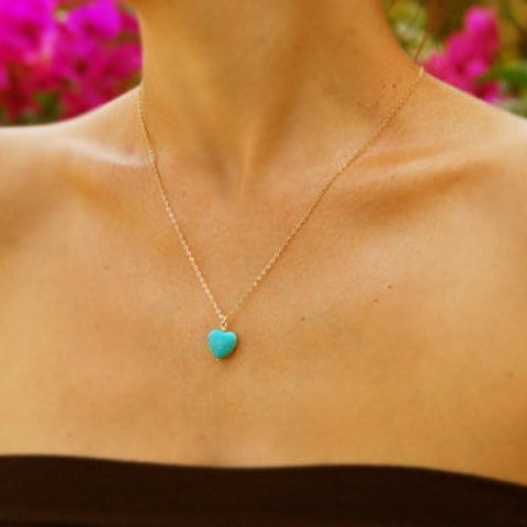 Turquoise Blue Heart Pendant Necklace,Blue Heart Necklace for Women,Girls