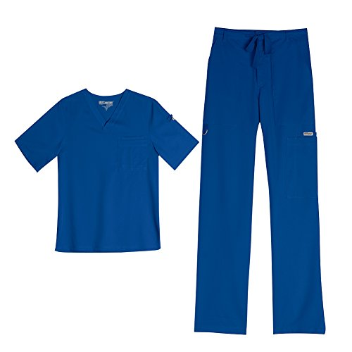 Grey's Anatomy Men's 0103 V-Neck Top & 0203 Drawstring Zip Front Pant Medical Uniform Scrub Set (New Royal - Small)