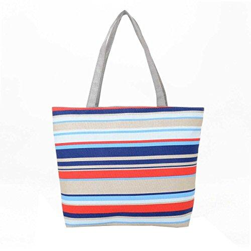 Women Casual Borse A Spalla Stripes Canvas Handbags,G-OneSize
