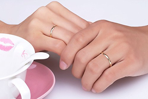 Gowe Or 18carats, Bague en or 18K Gold Ring Set pour les amoureux de mariage, Couples, pour homme, pour femme, pour filles, Au750Doré Anneaux