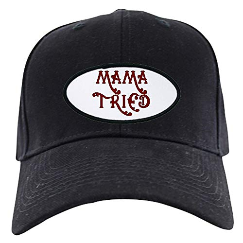 CafePress Mama Tried Black Cap Baseball Hat, Novelty Black Cap