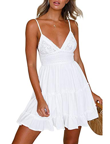 LEANI Women's Summer Spaghetti Strap Solid Color Ruffle Backless A Line Beach Short Dress (White-1, XL)