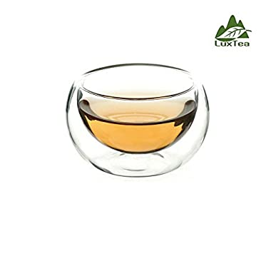 Luxtea Double-walled Borosilicate Glass Heat-resisting Tea Cup Hold 2 Oz, Set of 6