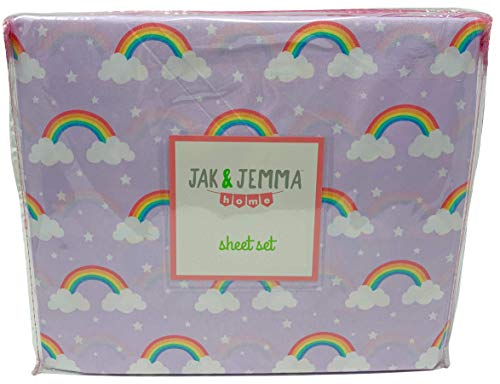 Jak & Jemma Colorful Printed Novelty Sheets for Kids - Lightweight Microfiber Sheet Set (Lilac Rainbow, Twin) - Daydream Lilac