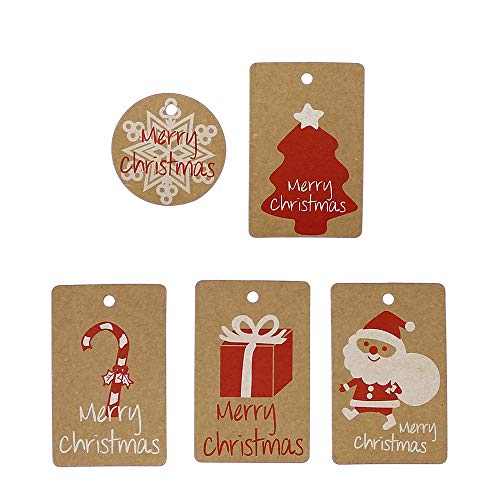 Soochat Christmas Tree Tags Xmas Tree Hanging Tags (100Pcs) Christmas Kraft Paper Tags DIY Labels Decor Christmas Ornament -