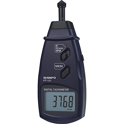 (Shimpo PT-122 Contact Tachometer with RPM, Automatically Records Maximum/Minimum, Last Value Up to 96 Data Points During Testing)