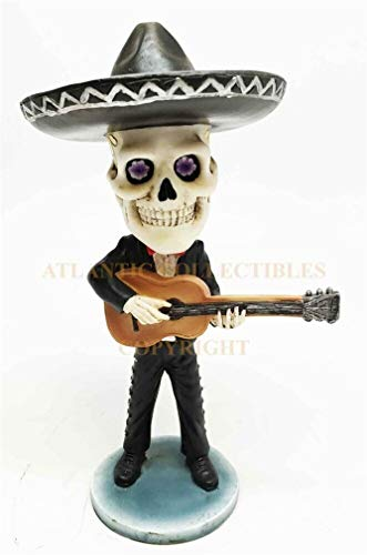 (Ky & Co YK Day of The Dead Mariachi Guitar Player Bobblehead Figurine Collectible Skull)