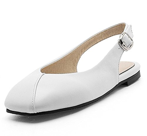 Easemax Womens Trendy Square Toe Buckle Strap Stitching Slingback Flat Heel Sandals White 5oe620YC
