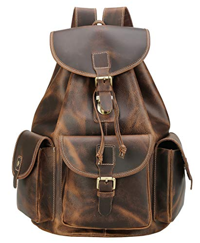 Polare Thick Genuine Leather Backpack Vintage College Laptop Bag