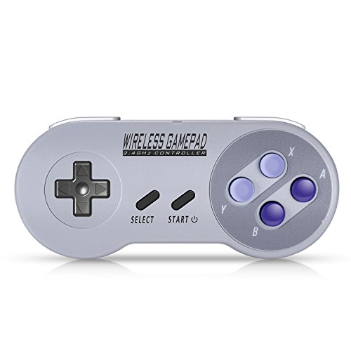 Wireless Controller for SNES Classic / NES Classic / PC, Urvoix 2.4G Rechargeable Gamapad Joystick with Receiver for Nintendo Super NES Classic / NES Classic , with USB Adapter for Emulators on PC