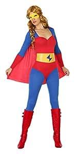 Atosa Disfraz Mujer Super héroe Comic Color Rojo y Azul M-L 18087