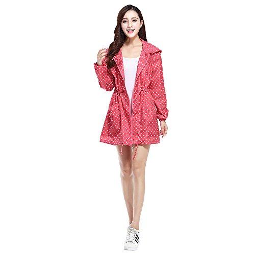 Rouge Poncho Pour Polka Veste Léger Pluie Modèle Style Usure Kindoyo Mode Filles Femme Dot Imperméable q6paAR