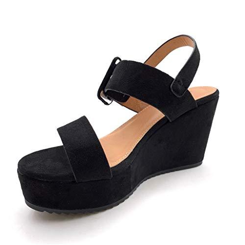 Angkorly Vintage Mule Cm rétro Boucle 10 Chaussure Compensé Talon Sandale Mode Femme Plateforme Noir r4Hxrq1