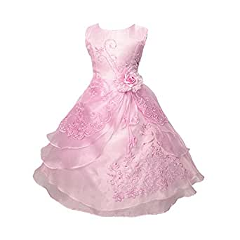 Free Fisher Niñas Vestido Floral de Princesa con Lazo Bordado sin Mangas