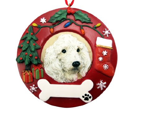 E&S Pets White Poodle Personalized Christmas Ornament