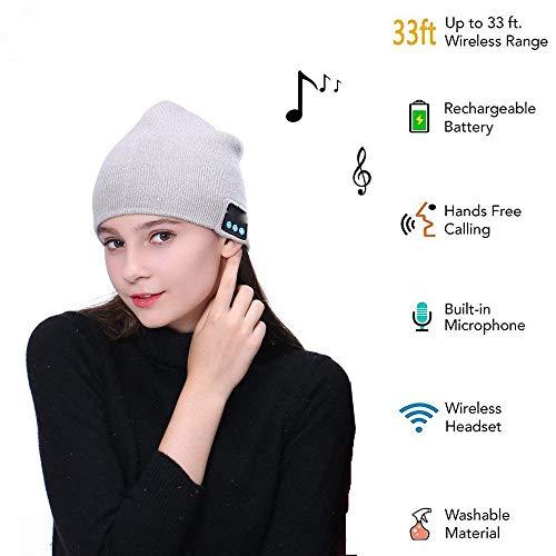 Wireless Beanie V4.2 Wireless Headphones Earphones 2 Speakers Beanies Unique Gifts (Light Grey)