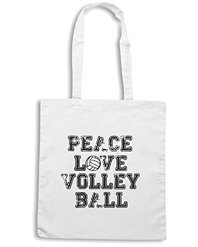 T-Shirtshock - Bolsa para la compra OLDENG00208 peace love volleyball Blanco