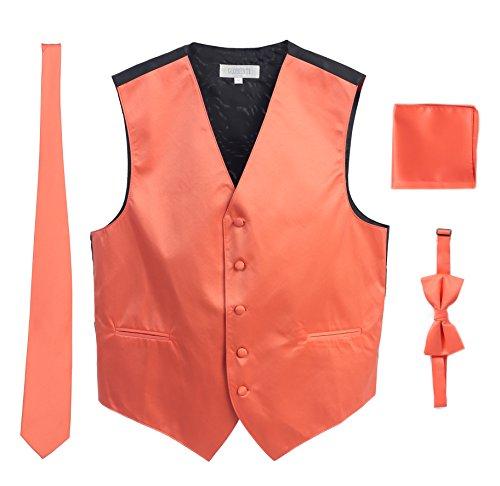 Men's Formal 4pc Satin Vest Necktie Bowtie and Pocket Square, Coral, 3X Large ()
