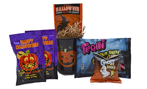 Halloween Candy and Cocoa Gift Basket for Kids- Includes Plastic Mug, Witchs Brew Hot Cocoa, Marshmallows, Sour Gummy Worms and Halloween Popping Candy (Black Pumpkin)