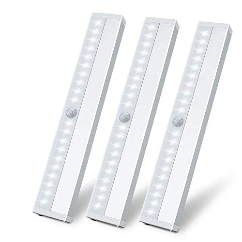 (LED Closet Light Motion Sensor Under Cabinet Lighting 20 LEDs Rechargeable Security Closet Lights Wireless Portable Magnetic Stick on Anywhere Stairs Night Light for Counter Drawer Hallway, 3 Pack)