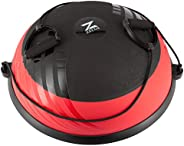 ZELUS 23 Inch Half Exercise Ball Stability Balance Board with Resistance Bands for Yoga Workouts, Home Gym Fit