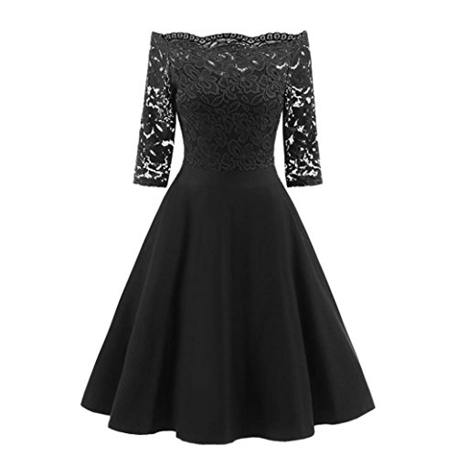 Price comparison product image Women Long Dress Daoroka Women's Sexy Off Shoulder New Fashion Vintage Lace Printing Short Sleeve Formal Patchwork Wedding Dress Cocktail Retro Swing Evening Party Skirt Slim Ladies Dress (XL,  Black)