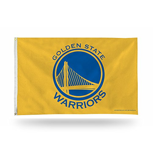 Rico Industries NBA Golden State Warriors 3-Foot by 5-Foot Single Sided Banner Flag with Grommets, Yellow ()