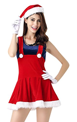 Killreal Women's Christmas Sweetie Mario Santa Claus Costume Dress Outfit Red One-Size (Plus Size Sexy Santa Christmas Costume)