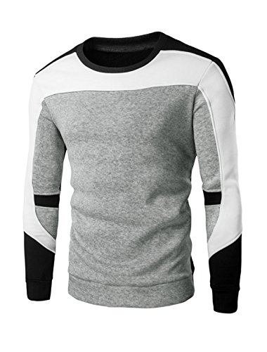 Man Long Sleeve Ribbed Trim Soft Lining Color Block Sweatshirt S Grey