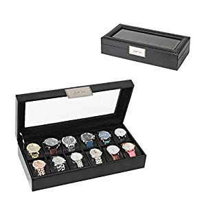 JackCubeDesign Watch Display Storage Box Organizer 12 Watches Holder Case Carbon Fiber Leather Design with Glass Top and Leather Pillows Inside(Black, 14.6 x 7.2 x 3.2 inches)-:MK274A