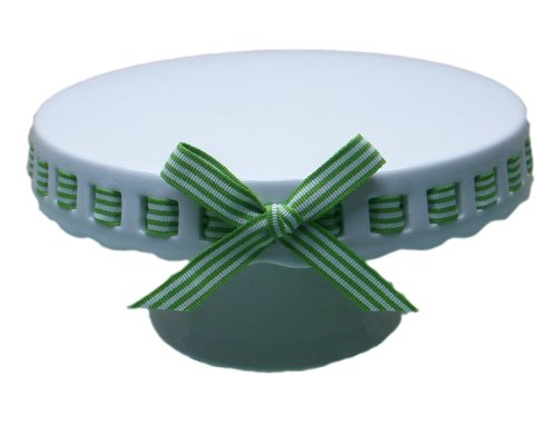 Gracie China by Coastline Imports 12-Inch Round Porcelain Skirted Cake Stand, Green and White Stripes -