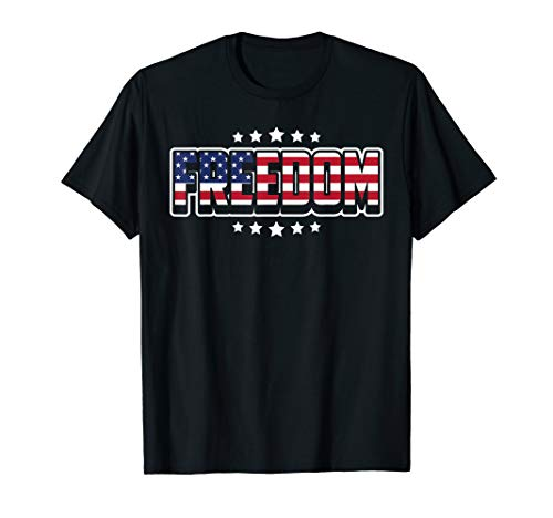 - Freedom 4th of July USA Patriotic Stars and Stripes T-Shirt