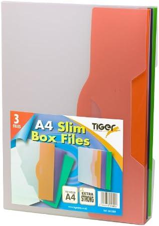 Tiger Pack de 3 A4 Delgado archivadores: Amazon.es: Oficina y ...