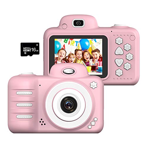 Toys For Girls 10 Years Old (Wonvin Kids Digital Camera Gifts for 4-10 Year Old Girls, Shockproof 2.4 Inch Screen Cameras Gift Mini Child Camcorder with Soft Silicone Shell for Outdoor Play,(16GB Micro SD Card)