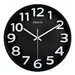 Filota Non-Ticking 100% Quiet Clock - for Kid's Room, Bedroom, Living Room, Kitchen, Restroom, Preschool Classroom, Daycare Classroom (3D Candy Black)