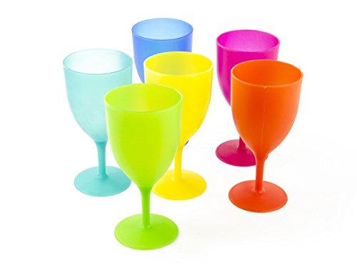 Colorful Plastic Picnic / Party Supply Set - Plastic Goblets - 6 - Colored Plastic Glasses